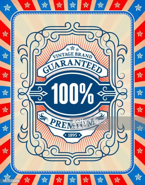 vintage american premium guaranteed badge background - memorial plaque stock illustrations, clip art, cartoons, & icons