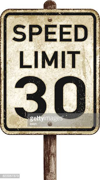 Vintage American speed limit 30 mph road sign_vector illustration