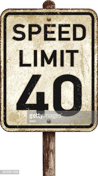 ビンテージアメリカの速度制限 40 mph road sign_vectorイラストレーション - 数字の40点のイラスト素材/クリップアート素材/マンガ素材/アイコン素材