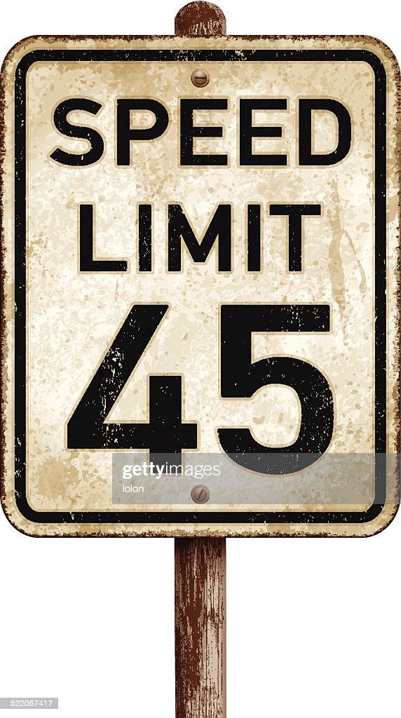 Vintage American speed limit 45 mph road sign_vector illustration : stock illustration