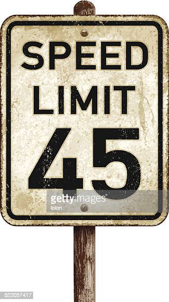 Vintage American speed limit 45 mph road sign_vector illustration