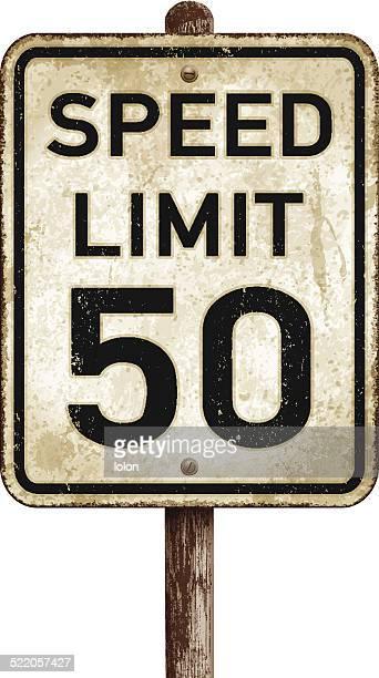 ビンテージアメリカの速度制限は 50 mph road sign_vectorイラストレーション - マイル点のイラスト素材/クリップアート素材/マンガ素材/アイコン素材