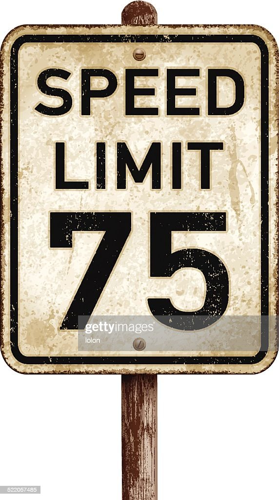 Vintage American speed limit 75 mph road sign_vector illustration : stock illustration