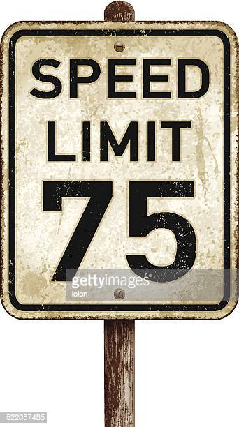Vintage American speed limit 75 mph road sign_vector illustration