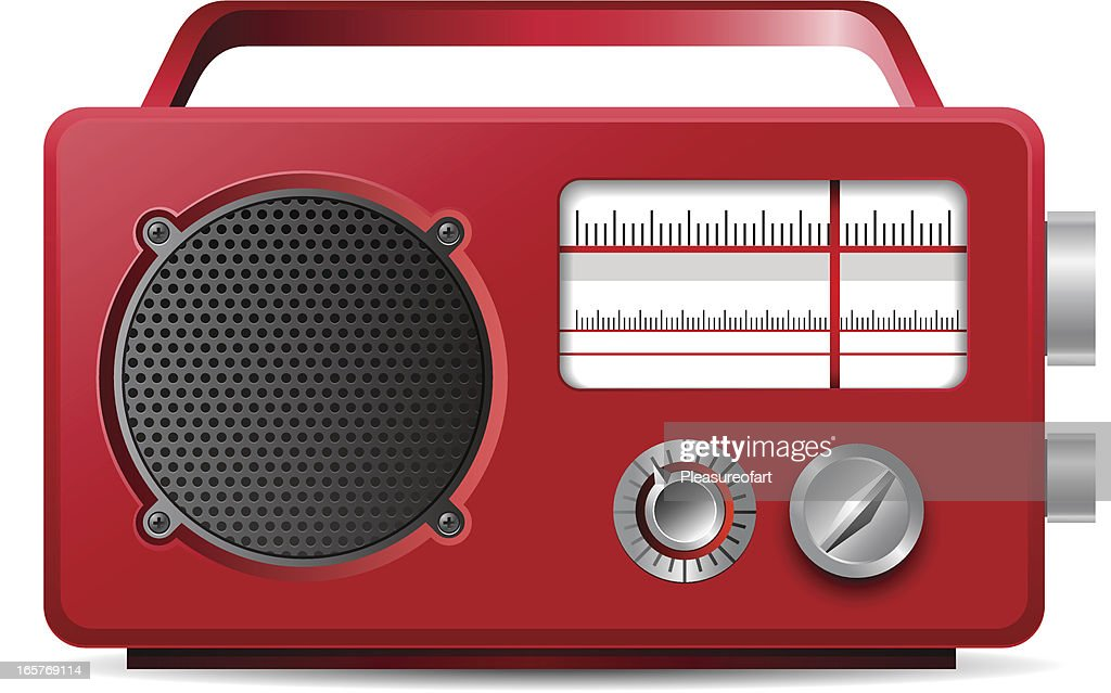 Vintage analog portable red radio illustration