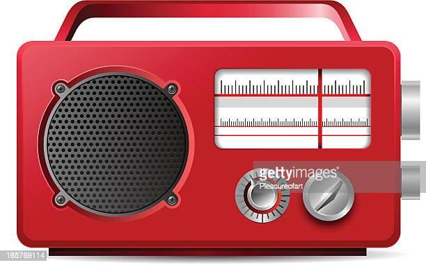 Vintage analog portable red radio illustration