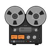 Vintage Analog Stereo Reel Deck Tape Recorder. Vector