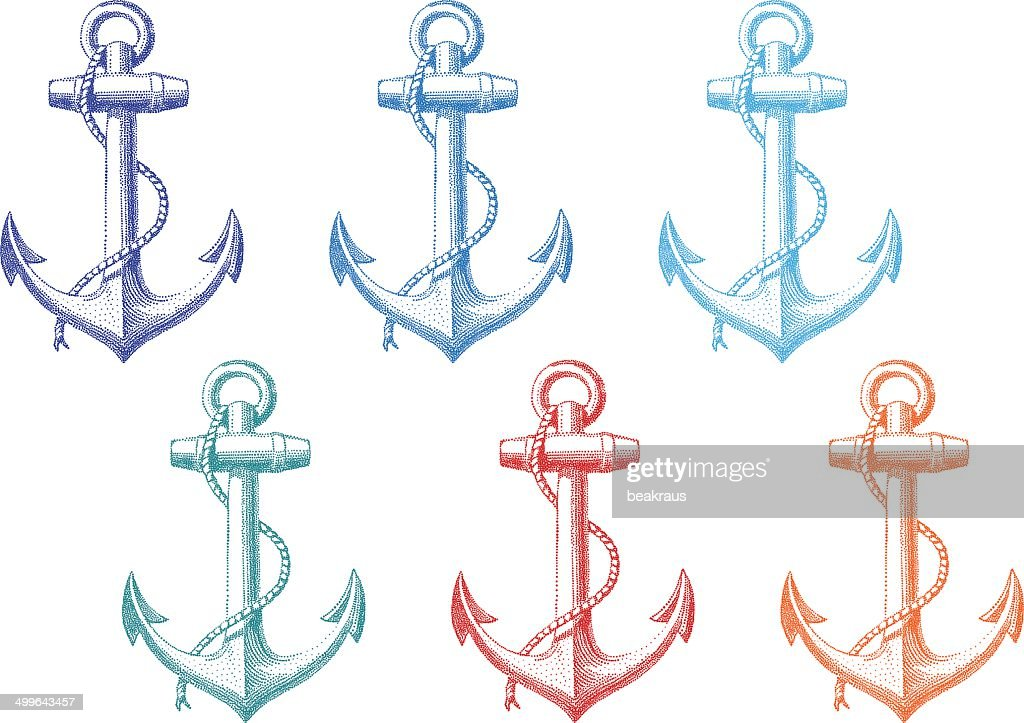 vintage anchor with rope, vector set