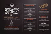 vintage and art restaurant menu design.