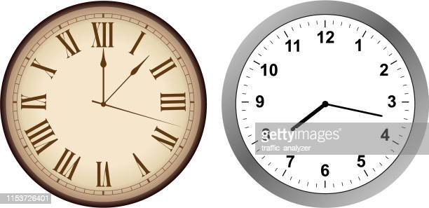 vintage and modern clock - clock face stock illustrations