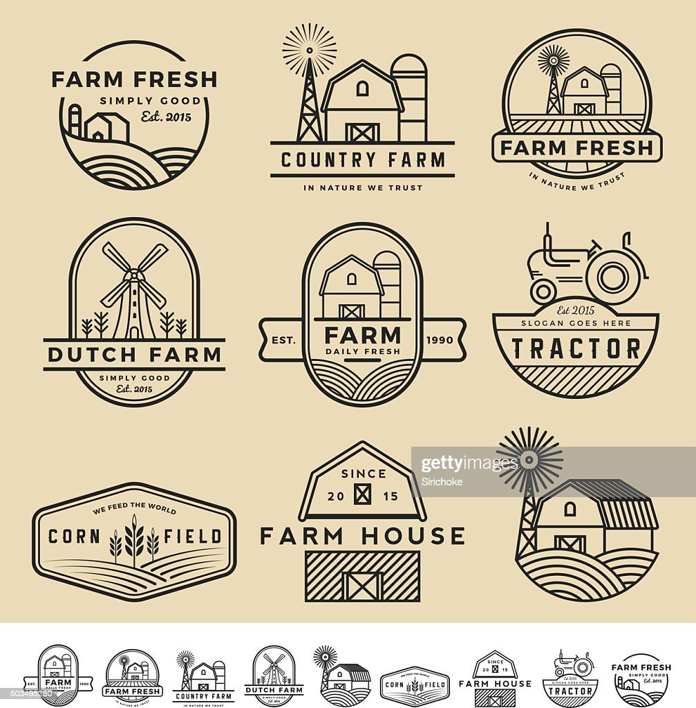 vintage and modern farm badge logo and labels