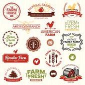 Vintage and modern farm labels