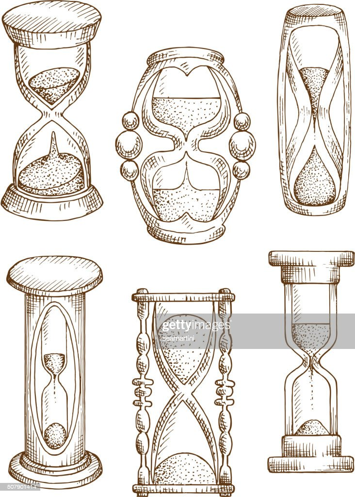 Vintage and modern hourglasses sketch icons