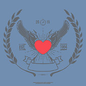 Vintage Angel Heart with Wings Vector