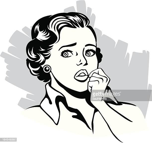 vintage anguished woman - confusion stock illustrations, clip art, cartoons, & icons