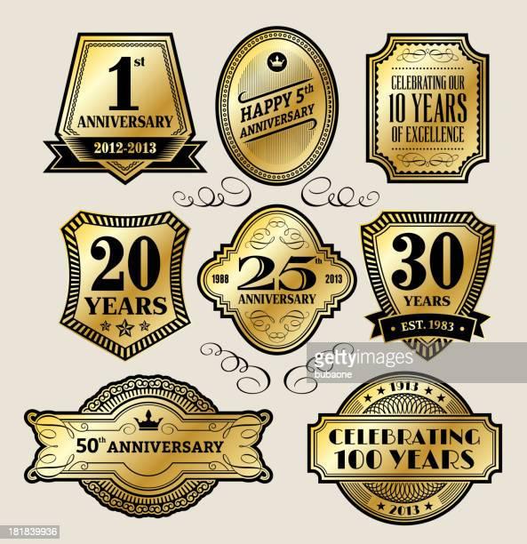 ゴールドビンテージバッジ周年記念 - 10周年点のイラスト素材/クリップアート素材/マンガ素材/アイコン素材
