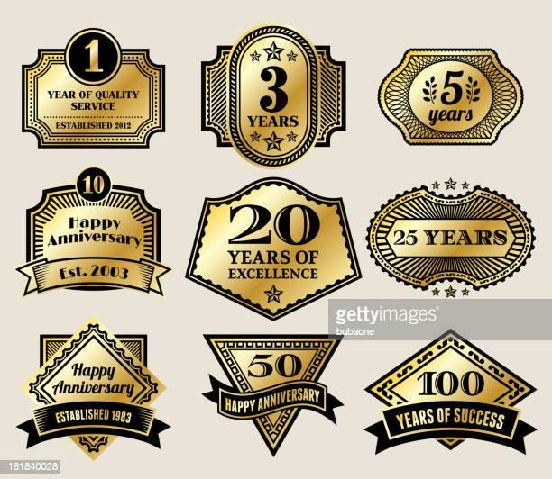 Vintage Anniversary Gold Badges