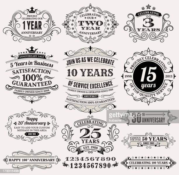 Vintage Anniversary Labels, Frames and Design Elements with Copy Space