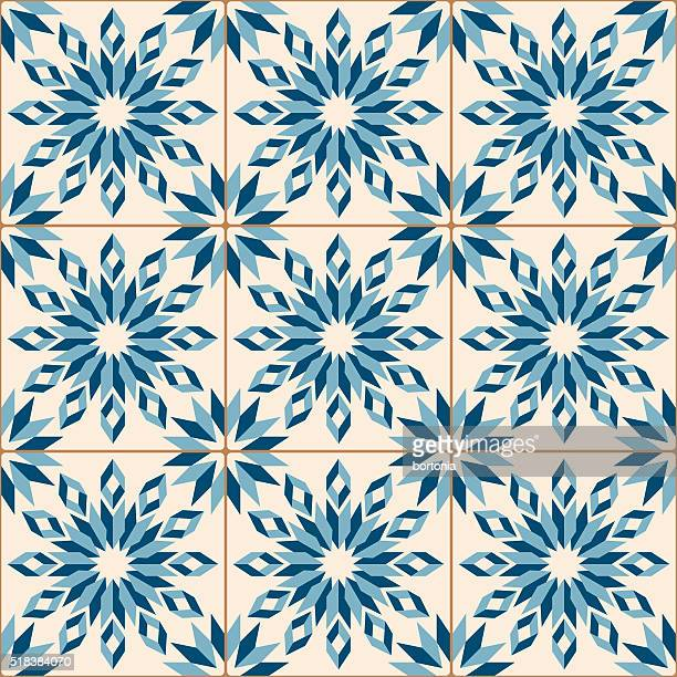 illustrazioni stock, clip art, cartoni animati e icone di tendenza di vintage blu antico mosaico di piastrelle di porcellana motivo senza interruzioni - cultura portoghese