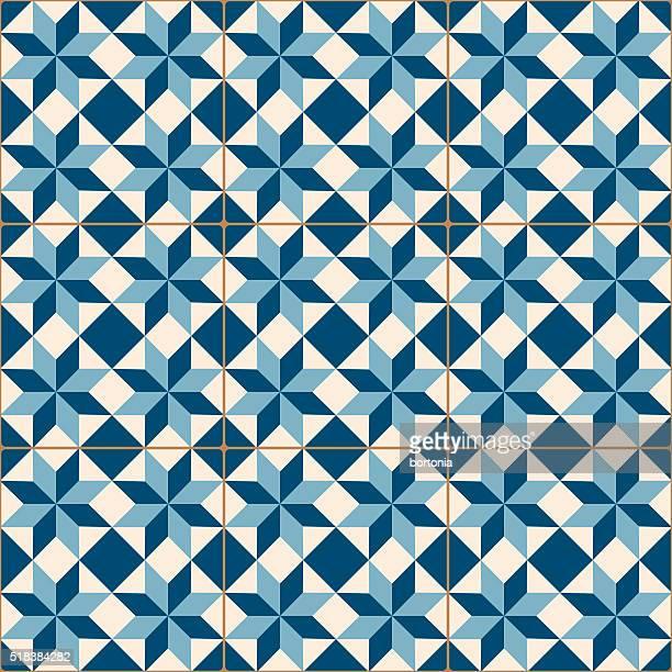ilustrações, clipart, desenhos animados e ícones de antigo vintage azul mosaico azulejos de porcelana padrão perfeito - cultura portuguesa