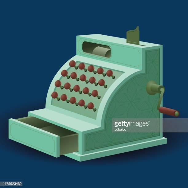 vintage antique cash register - cash register stock illustrations