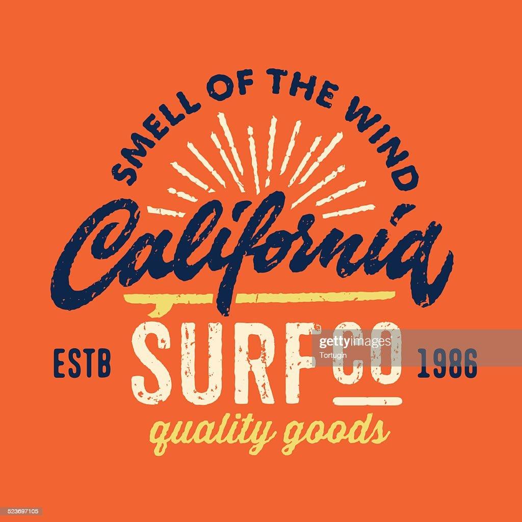 Vintage apparel design for surfing company