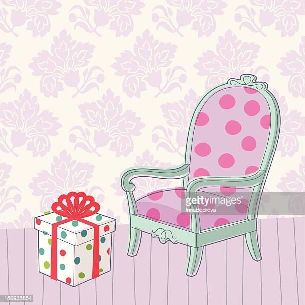 Vintage Sessel und Geschenk