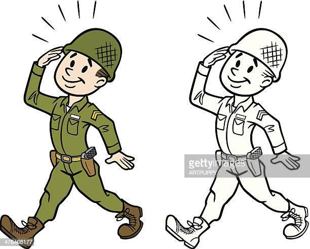 vintage army man - army helmet stock illustrations, clip art, cartoons, & icons