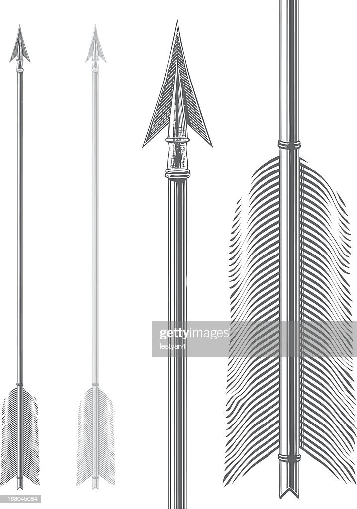 Vintage arrow in engraving style