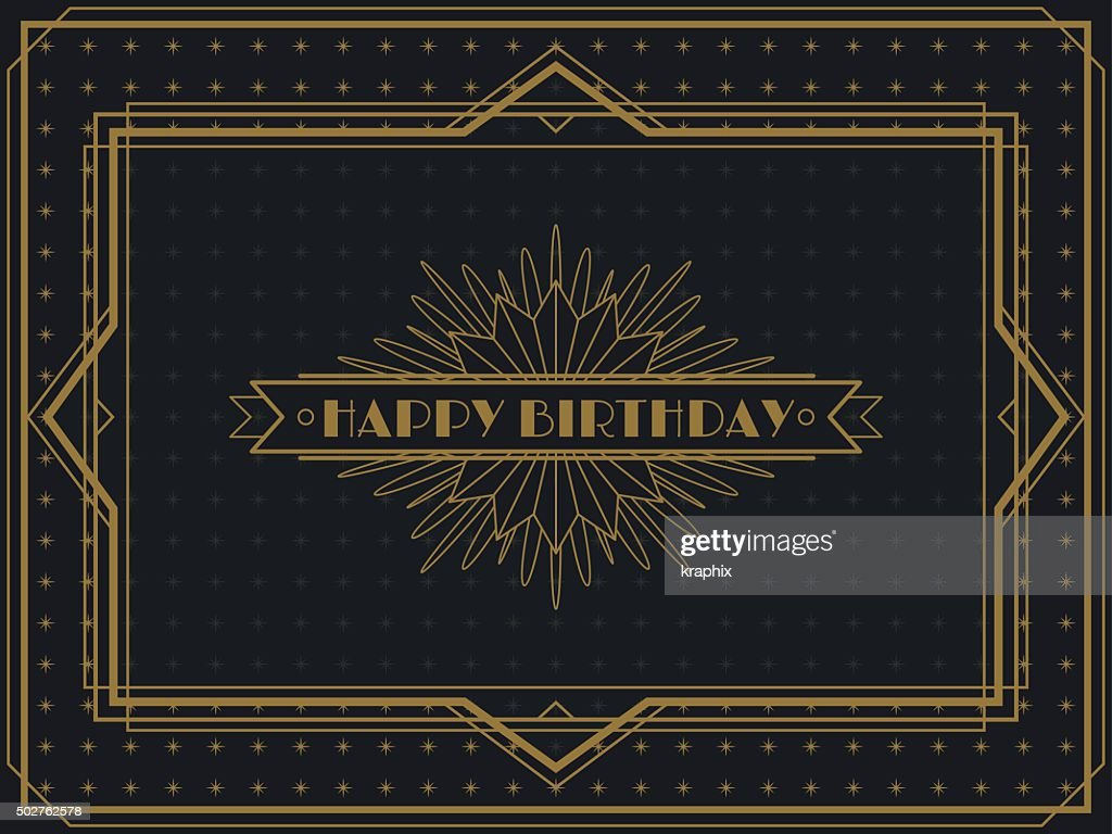 Vintage Art Deco Birthday card frame design
