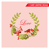 Vintage Autumn Floral Graphic Design - for Card, T-shirt, Fashion