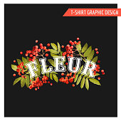 Vintage Autumn Floral Graphic Design - for T-shirt, Fashion, Prints