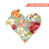 Vintage Autumn Flowers Graphic Design for T-shirt, Fashion, Prints in vector