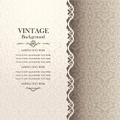 Vintage background, antique greeting card, invitation with lace