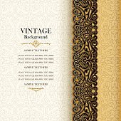 Vintage background, antique invitation card