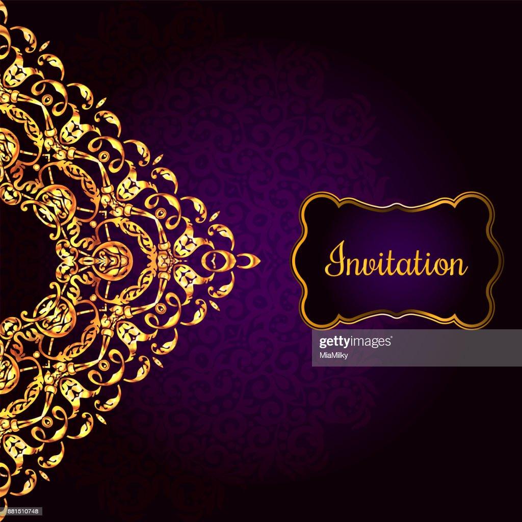 Vintagehintergrund Antike Viktorianischen Gold Ornament Barockrahmen ...