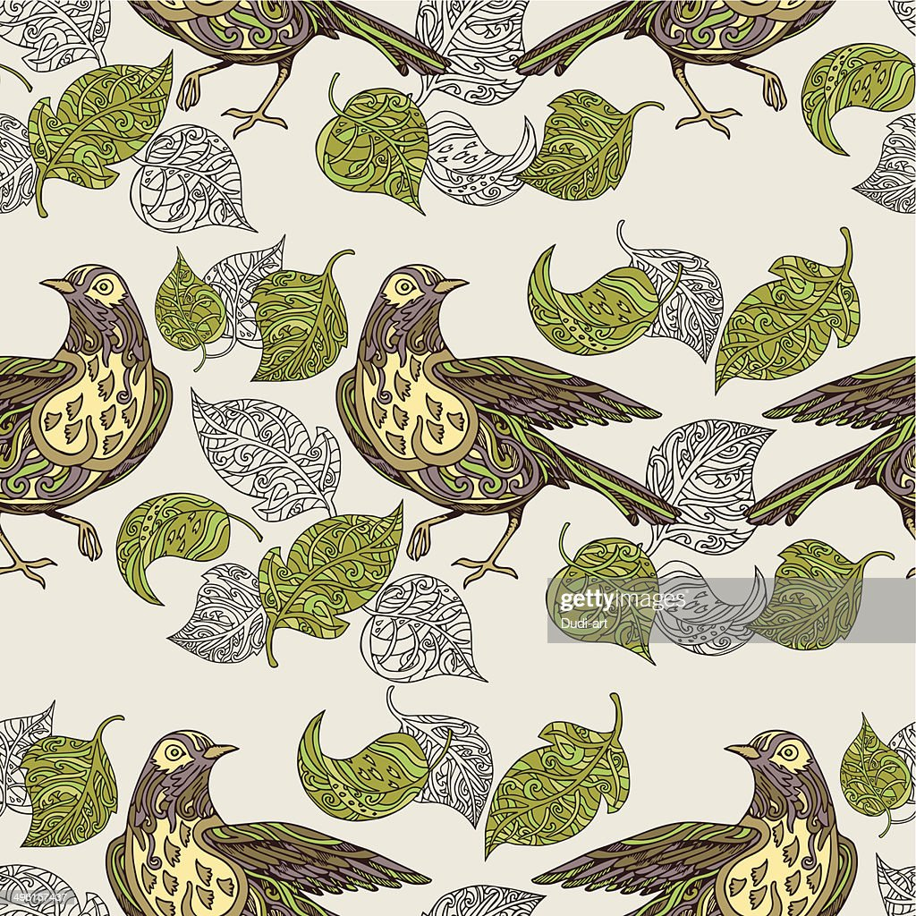 Vintage background, birds and leafs