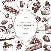 Vintage background with decorative berries dessert sketch.