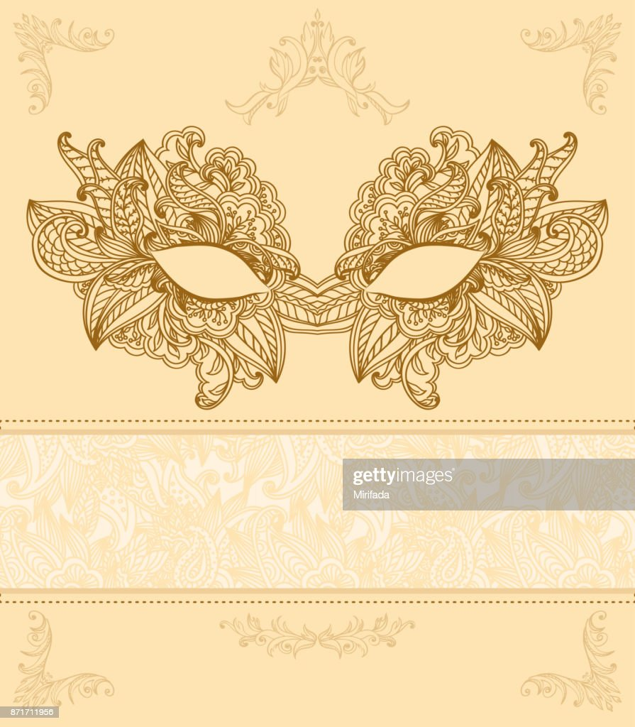 Vintage background with Venetian carnival mask
