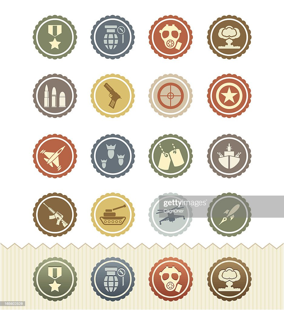Vintage Badge Series : War Games and Military Icons