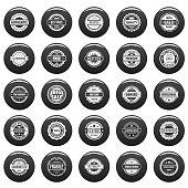 Vintage badges and labels icons set vetor black