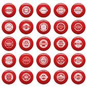 Vintage badges and labels icons set vetor red