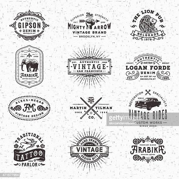 vintage badges, labels and frames - retro style stock illustrations