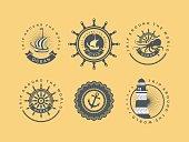 Vintage badges sea