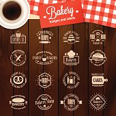 Vintage bakery badges, labels, and logos