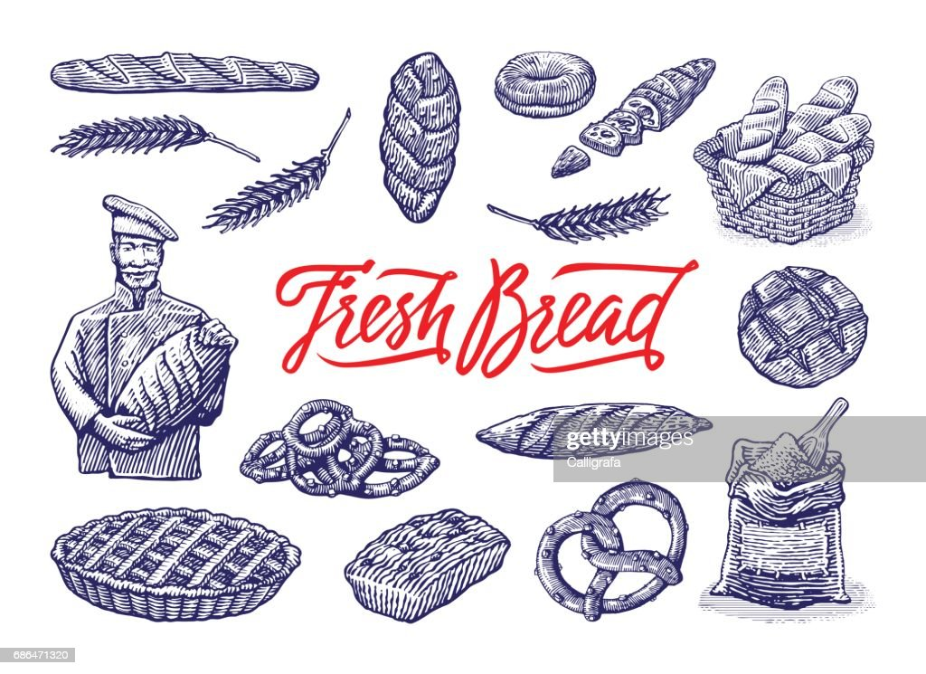 Vintage bakery illustrations set. Vector color hand drawn vintage engraving illustration