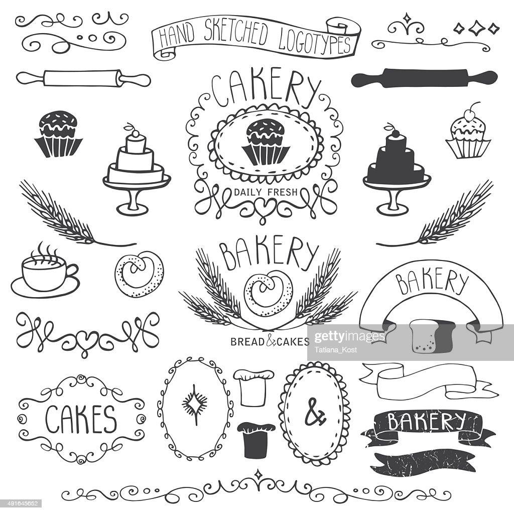 Vintage Bakery Labels element set.Hand sketched.Outline