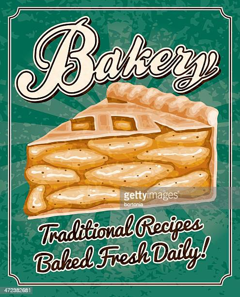 vintage bakery poster - pastry dough stock illustrations, clip art, cartoons, & icons