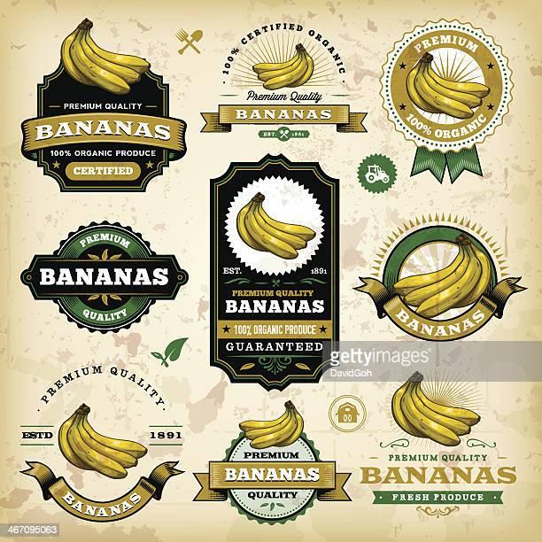 Vintage etiquetas de tipo Banana