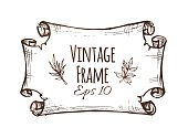 Vintage banner design template. Hand drawn paper scroll or frame isolated on white background. Engraved vector illustration of cartouche